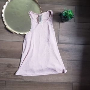 Free People pink ribbed high neck tank top S